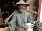 Vintage Statuary Cast Bronze Chinese Peasant Water Bearer