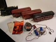 N Antique Vintage Tin 1920's Ives Train Set Lot Of 4 Cars With Parts