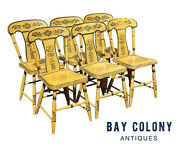 19th C Antique Set Of 6 Country Sheraton Yellow Fancy Paint Dining Chairs