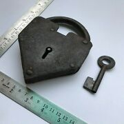 Early 18th C Iron Padlock Lock With Key Old Or Antique Most Rare Shaped.