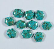 Natural Blue Copper Turquoise Hexagon Shape Cabochon Loose Gemstone 6mm To 10mm