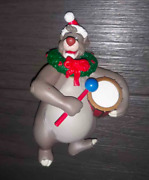 Disney Jungle Book Ornament Baloo Playing A Drum With Santa Hat And Wreath