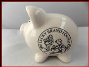 Lucky Brand Foundation Piggy Bank Vintage Porcelain 3 1/2 X 4 Inches White Pig