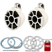 Wet Sounds Rev10w-fc Fixed Clamp Tower Speakers With Rgb Led Rings Grills White