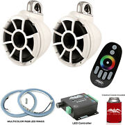 Wet Sounds Rev10w-fc Fixed Clamp Tower Speakers With Rgb Led Rings White