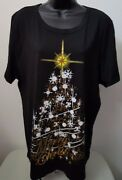 Fashion Bug Nwt Womens Multi Color Merry Christmas T Shirt Top Blouse Size 1x