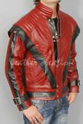 Michael Jackson Thriller Mj Red Real Leather Jacket Halloween Costume Cosplay