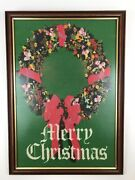 Completed Needlepoint Vintage Merry Christmas Wreath Framed Large Holiday Euc