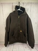 Mens Lined Hooded Jacket Coat Dark Brown Size 2xl Tall