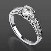 Diamond Ring Solitaire Accented Natural 1.21 Ct Round Shape 14k White Gold