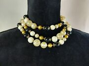 Vintage Japan 3 Stranded Choker Necklace Beads Pearl Costume Jewelry