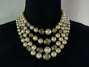 Vintage 4 Strand Hong Kong Pearl Bead Choker Necklace Costume Jewelry