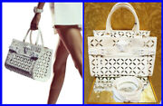 S/s 2015 Look 19 Versace Perforated Off White Leather Handbag