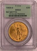 1908-d No Motto Double Eagle Pcgs Ms62 20 Old Green Tag Beautiful Coin