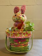 Longaberger 2011 Easter Basket Combo W Bunny And Tie On