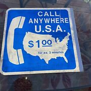 Vintage Public Telephone Pay Phone Payphone Booth Advertising Flange Metal Sign