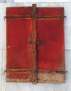 1850 Antique Old Rare Hand Carved Painted Wooden House Window Door Wall Handing