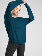 Athleta Womenand039s Long Sleeve Teal Black Heather Mindful Soft Pullover Top Sz S