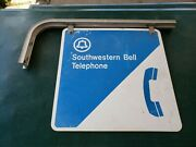 Vintage Southwestern Bell Phone Booth Sign 18x18 Metal Double Sided With Hange