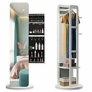 Swivel Jewelry Armoire Cabinet With Full Length Mirror W/ Coat Rack White