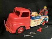 Vintage Wyandotte Pressed Steel Emergency Tow Truck W/ Spare Tire And Tools