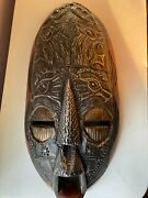 African Wooden Tribal Face Mask Wall Hanging Hand Hammered Metal Armored/ Wood