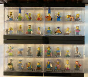 Lego Simpsons Minifigures Series 1 And 2 Complete 71005 W/ Four Lego Displays
