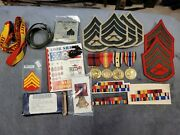Usmc Afghanistan War Medal Bar/ Medal Grouping 4x Place Bar Plus Insignia/medals
