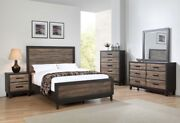 4-pc King Size Two-tone Brown Finish Wooden Storage Master Bedroom Set New