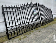 Wrought Iron Driveway Entry Gate Steel Home Residential Security, Dual Swing