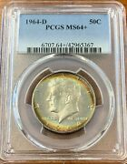 1964-d Kennedy Half Dollar Pcgs Ms64+rainbow Toned Obverse And Reverse