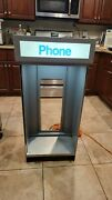 Vintage Outdoor Pay-phone Booth Box Light Enclosure Metal Payphone Public Phone