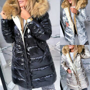 ❤️ Womens Quilted Puffer Wet Look Long Shiny Padded Jacket Fur Hooded Thick Coat