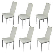 6pcs Dining Chairs Living Room Kitchen High Back Chair Seat Backrest White Us