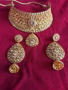 New Indian Bollywood Gold Choker Necklace Earrings Fashion Costume Jewellery Set