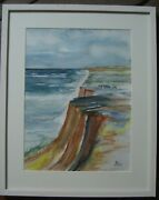 Watercolour Signed Frame Landscape Helgoland Red Cliffs Cliff North Sea