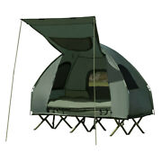 2 Person Camping Kit Tent Raised Bed Folding Shelter Awning Pump Sleeping Bag