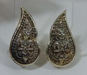 Antique Sterling Silver Repousse Siam Hindu Deity Highly Detailed Clip Earrings