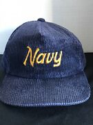 Vintage Navy Corduroy Hat Cap Sports Specialties The Cord Rare Strap Back A4