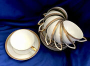 Mikasa Olympus 8386 Lot Of 8 Cup And Saucer Sets Jyoto Japan Art Deco Style Trim