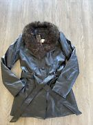 Vintage 1990s Faux Leather Faux Fur Trim Trench Size Small New With Tags