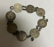 Antique Sterling Silver British 3 Three Pence Silver Coin Bracelet 1920 - 1940