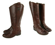 Frye Leather Boots Tall Jayden Button Brown Redwood Sz 8 Vgc