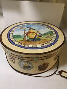 Collectible 7''x 16'' Winnie The Pooh Waiting On Train Round Hat Boxvery Rare