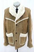 Mens Brown Vintage 70s Western Leather Sherpa Lined Coat Marlboro Man Rancher Xl