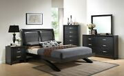 Contemporary 4-pc King Size Black Finish Wooden Storage Master Bedroom Set New