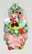 Minnie Mouse 4 Snow Globe Water Ball Garden Butterfly Flowers Bow Red Dress