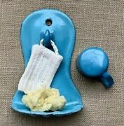 Antique Miniature German Robin's Egg Blue Enamelware Wall Rack W Cup And Extras