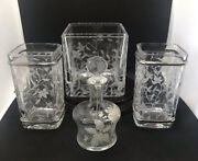 Vintage 4-piece Art Deco Glass Dresser Set-candle Holders-perfume And Flower…..