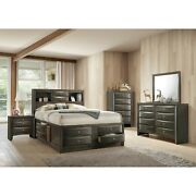 5pc Master Bedroom Set Gray Finish King Size Storage Bed Wooden Furniture Wood
